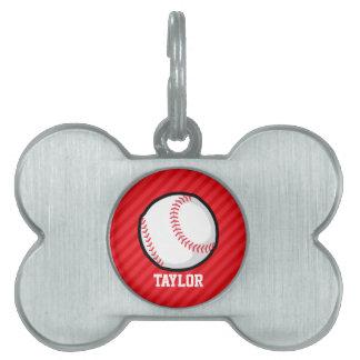 Béisbol; Rayas del rojo del escarlata Placas Mascota