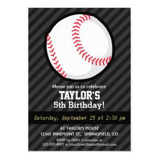 Béisbol; Rayas negras y gris oscuro Invitación 12,7 X 17,8 Cm