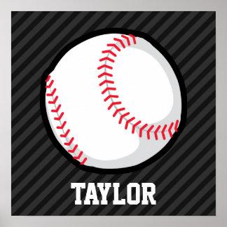 Béisbol; Rayas negras y gris oscuro Póster