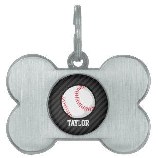 Béisbol; Rayas negras y gris oscuro Placa De Mascota