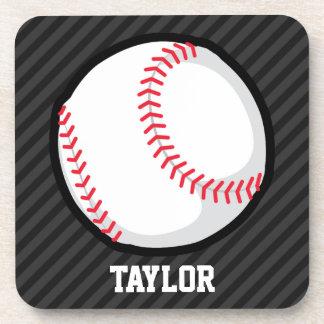 Béisbol; Rayas negras y gris oscuro Posavasos