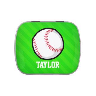 Béisbol; Rayas verdes de neón Frascos De Dulces