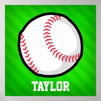Béisbol; Rayas verdes de neón Póster