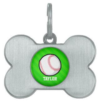 Béisbol; Rayas verdes de neón Placa Mascota