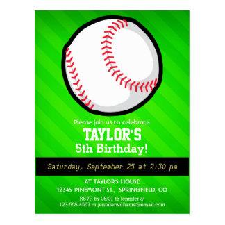 Béisbol; Rayas verdes de neón Tarjeta Postal