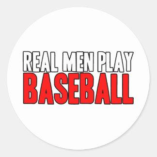 Béisbol real del juego de los hombres pegatina redonda
