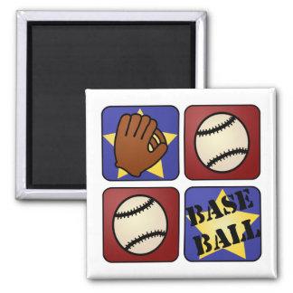 Béisbol rojo, blanco, y azul imán cuadrado