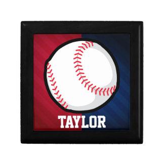 Béisbol; Rojo, blanco, y azul Joyero Cuadrado Pequeño