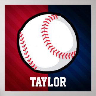 Béisbol; Rojo, blanco, y azul Póster