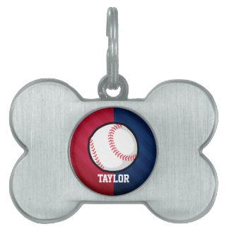 Béisbol; Rojo, blanco, y azul Placas De Mascota