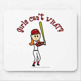 Béisbol rojo claro de los chicas tapetes de ratones