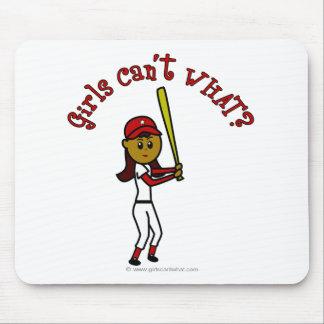 Béisbol rojo oscuro de los chicas alfombrilla de ratones