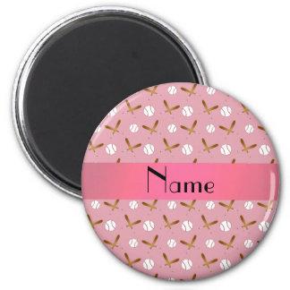 Béisbol rosado bonito conocido personalizado imanes de nevera