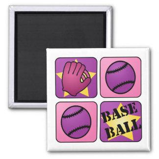 Béisbol rosado imán cuadrado