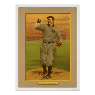 Béisbol salvaje 1911 de los tigres de Bill Donovan Póster