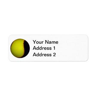 Béisbol/softball amarillos y negros etiquetas de remite