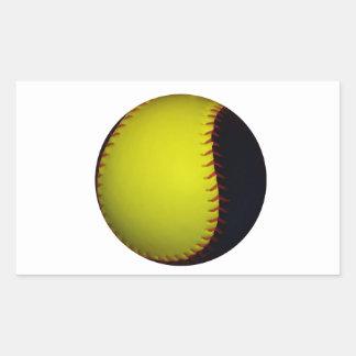 Béisbol/softball amarillos y negros pegatina rectangular