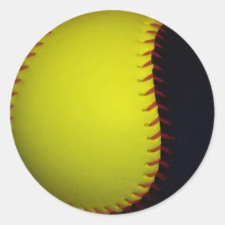 Béisbol/softball amarillos y negros pegatina redonda