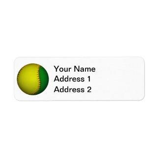 Béisbol/softball amarillos y verdes etiquetas de remite