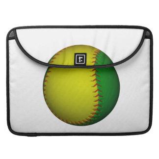 Béisbol/softball amarillos y verdes funda para macbooks
