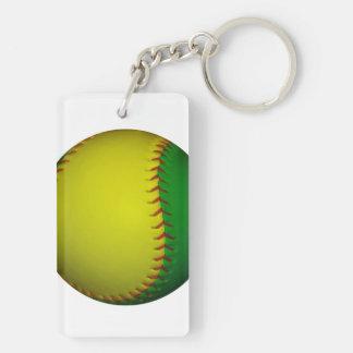 Béisbol softball amarillos y verdes llavero