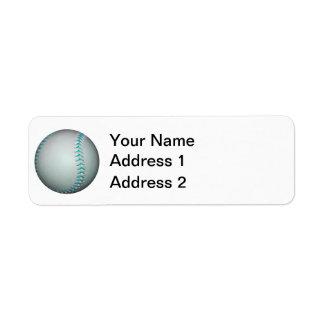 Béisbol/softball azules claros de las puntadas etiquetas de remite