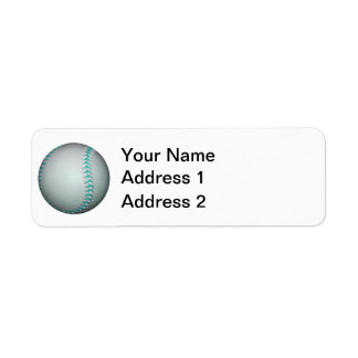 Béisbol/softball azules claros de las puntadas etiqueta de remitente