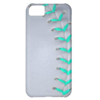 Béisbol/softball azules claros de las puntadas funda para iPhone 5C