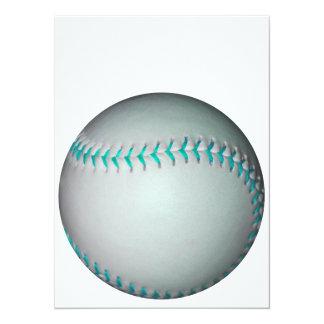 """Béisbol/softball azules claros de las puntadas invitación 5.5"""" x 7.5"""""""