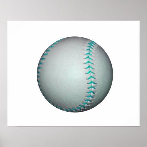 Béisbol/softball azules claros de las puntadas posters