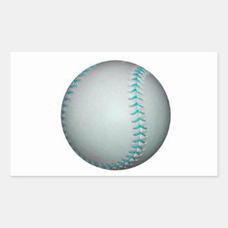 Béisbol/softball azules claros de las puntadas pegatina rectangular