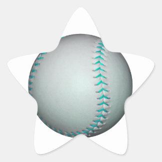 Béisbol/softball azules claros de las puntadas pegatina en forma de estrella