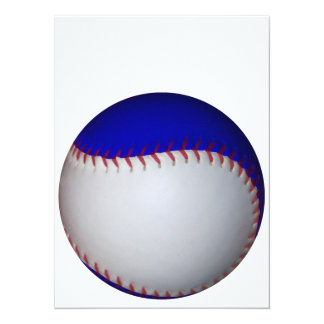 """Béisbol/softball blancos y azules invitación 5.5"""" x 7.5"""""""