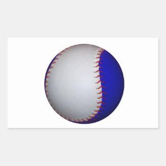 Béisbol/softball blancos y azules pegatina rectangular