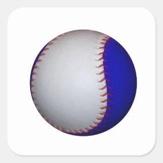 Béisbol/softball blancos y azules pegatina cuadrada