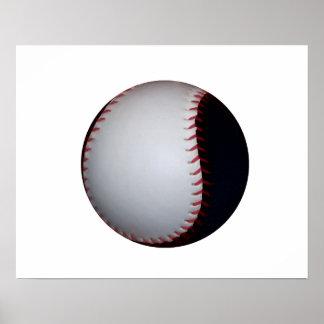 Béisbol/softball blancos y negros póster