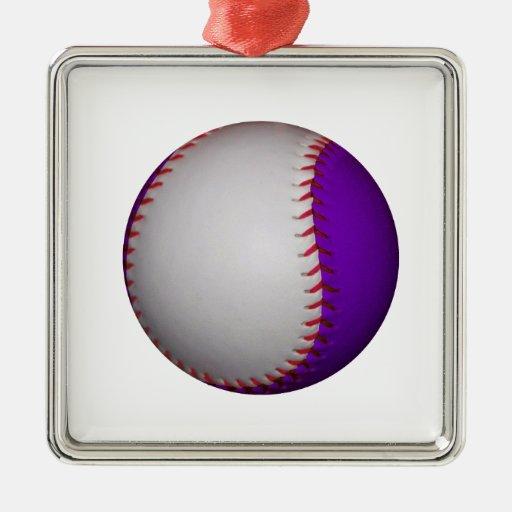 Béisbol/softball blancos y púrpuras ornamentos de navidad