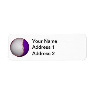 Béisbol/softball blancos y púrpuras etiquetas de remite
