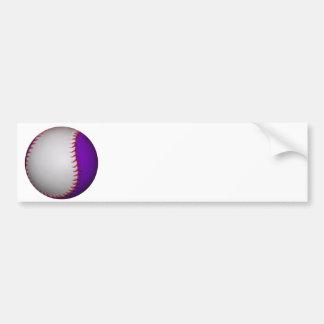 Béisbol/softball blancos y púrpuras pegatina para auto