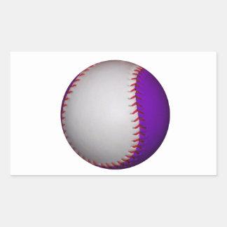 Béisbol/softball blancos y púrpuras pegatina rectangular