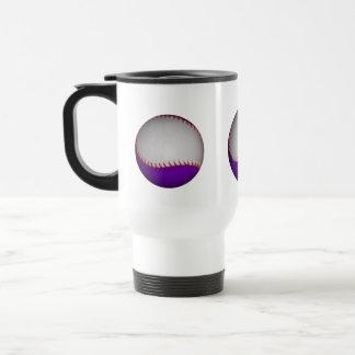 Béisbol/softball blancos y púrpuras taza de viaje de acero inoxidable