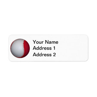 Béisbol/softball blancos y rojos etiqueta de remite