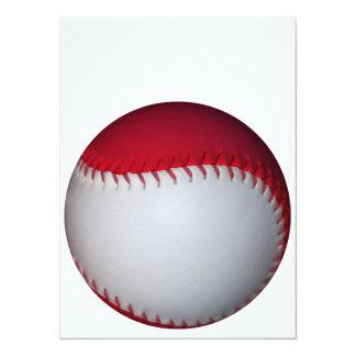 """Béisbol/softball blancos y rojos invitación 5.5"""" x 7.5"""""""