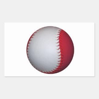 Béisbol/softball blancos y rojos pegatina rectangular