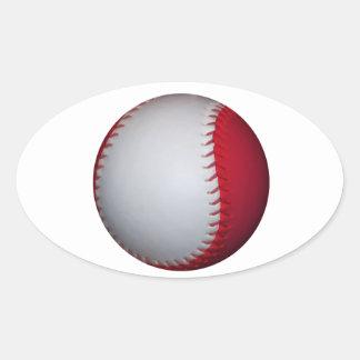 Béisbol/softball blancos y rojos pegatina ovalada