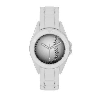 Béisbol softball de costura negros reloj