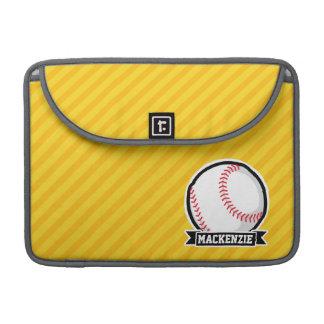 Béisbol, softball en rayas amarillas funda macbook pro