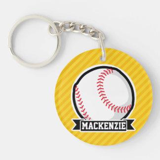 Béisbol, softball en rayas amarillas llaveros