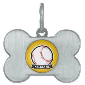 Béisbol, softball en rayas amarillas placa de mascota