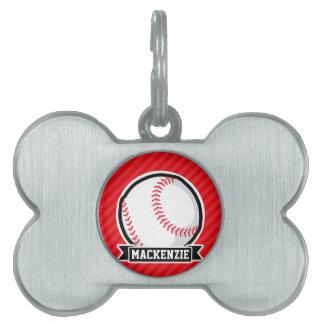Béisbol, softball; Rayas diagonales rojas Placas De Nombre De Mascota
